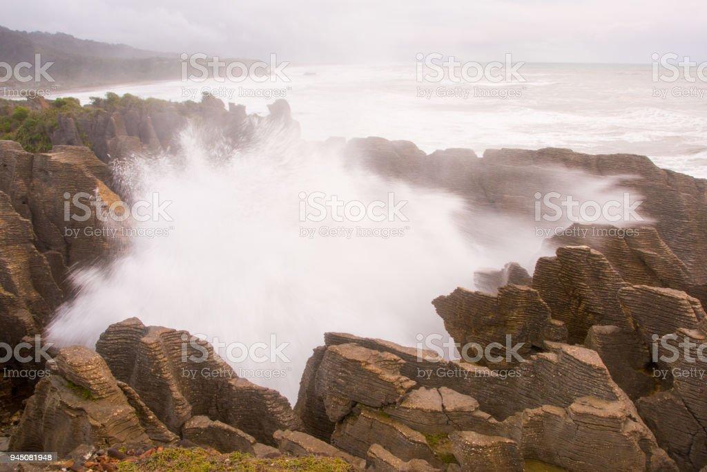Pancake Rocks blowhole at Punakaiki 6 stock photo