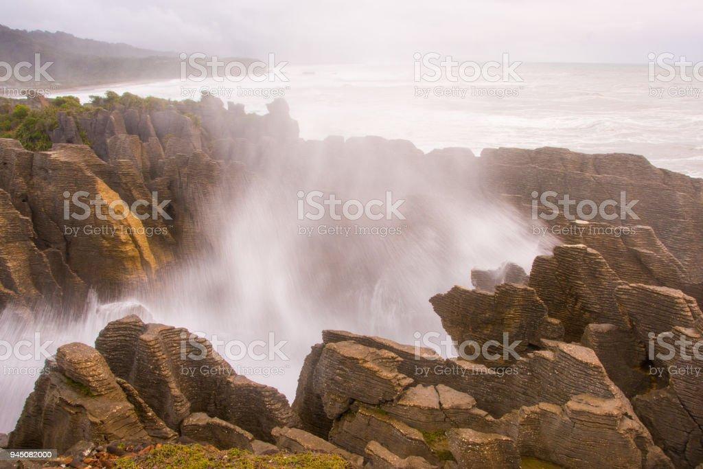 Pancake Rocks blowhole at Punakaiki 7 stock photo
