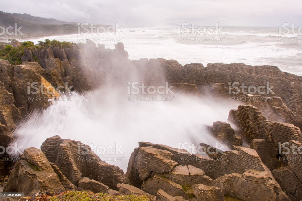 Pancake Rocks blowhole at Punakaiki 8 stock photo