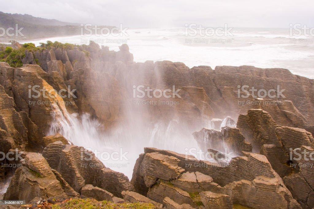 Pancake Rocks blowhole at Punakaiki 9 stock photo