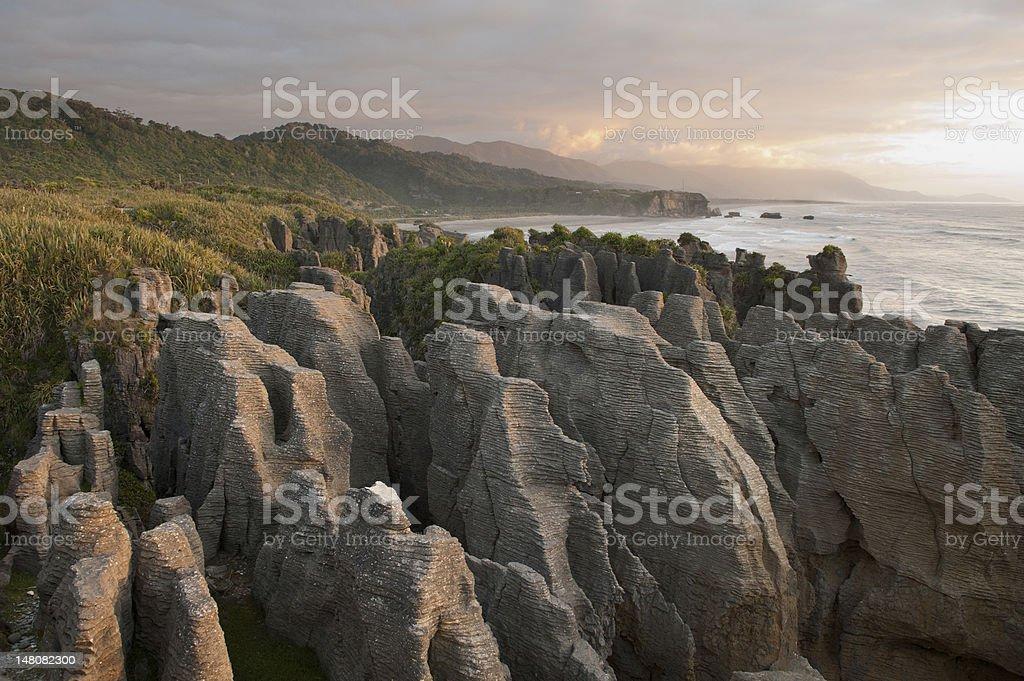 Pancake Rocks in New Zealand stock photo