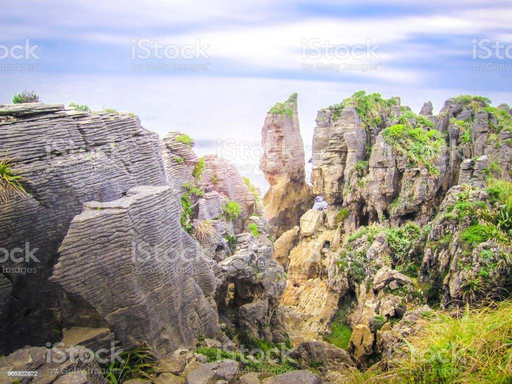 Pancake rocks in Paparoa National Park, South island, New Zealand royalty-free stock photo