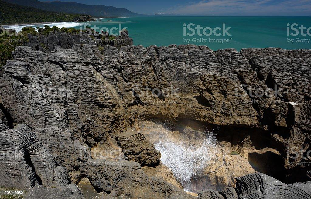 Pancake rocks in Punakaiki, New Zealand stock photo