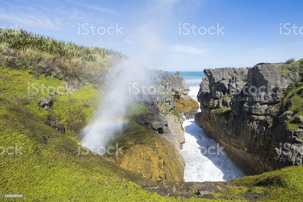 Pancake rocks in Punakaiki, South island, New Zealand stock photo