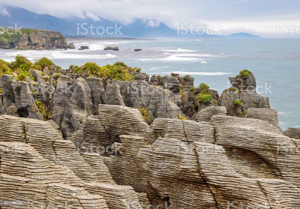 Pancake Rocks near Punakaiki stock photo