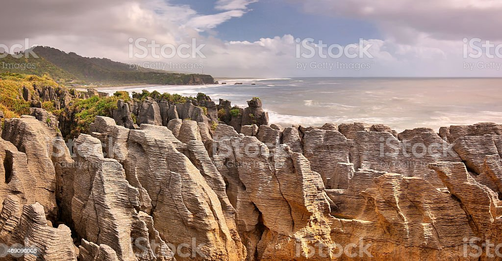 Pancake Rocks, New Zealand - long time exposure stock photo