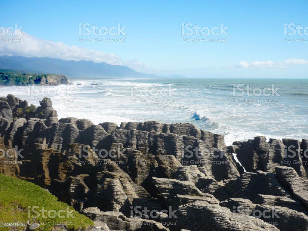 Pancake rocks, New Zealand stock photo