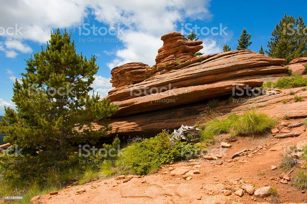 Pancake Rocks on Pikes Peak Colorado stock photo