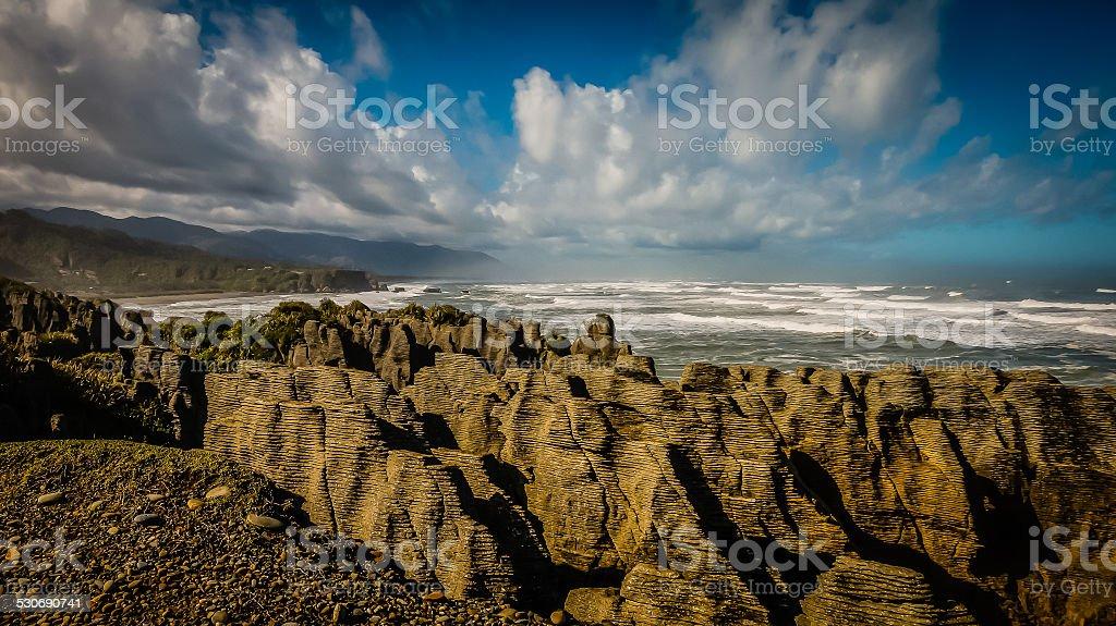 Pancake Rocks Panorama stock photo