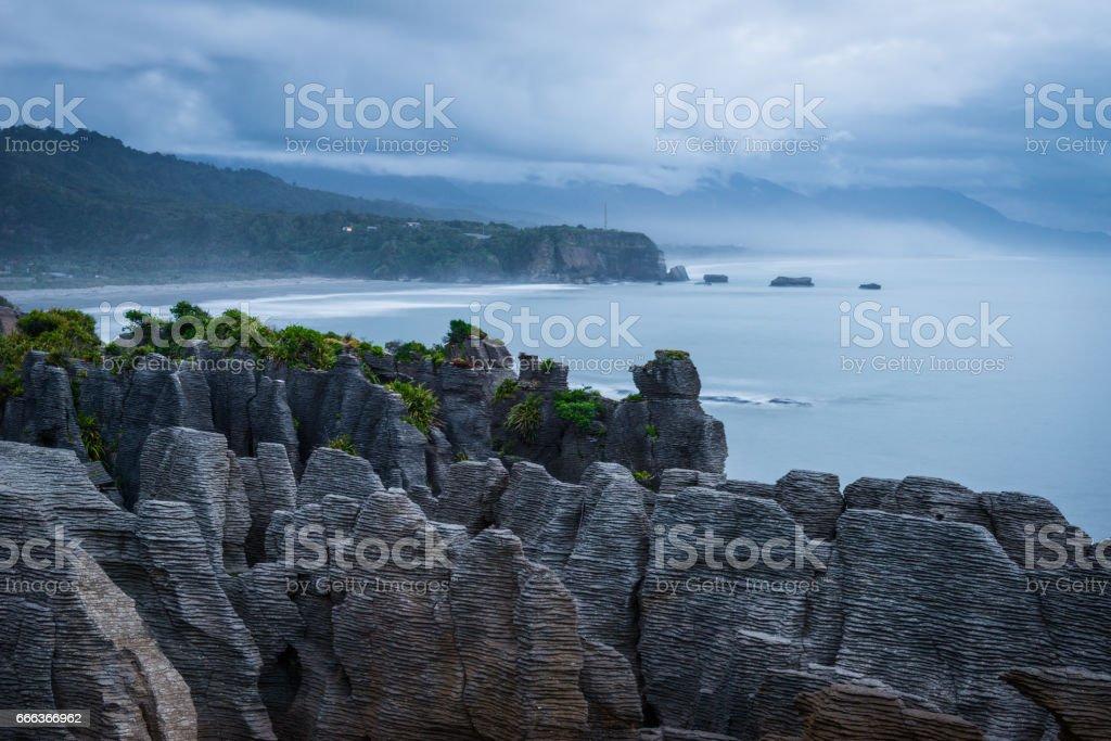 Pancake Rocks, Paparoa National Park, New Zealand. stock photo