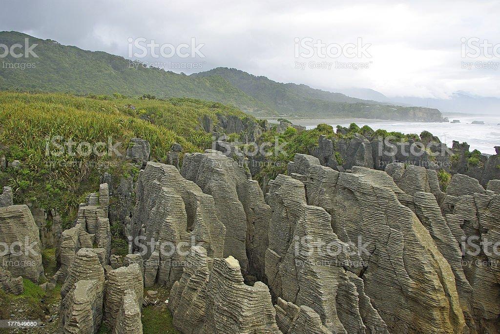 Pancake rocks stock photo