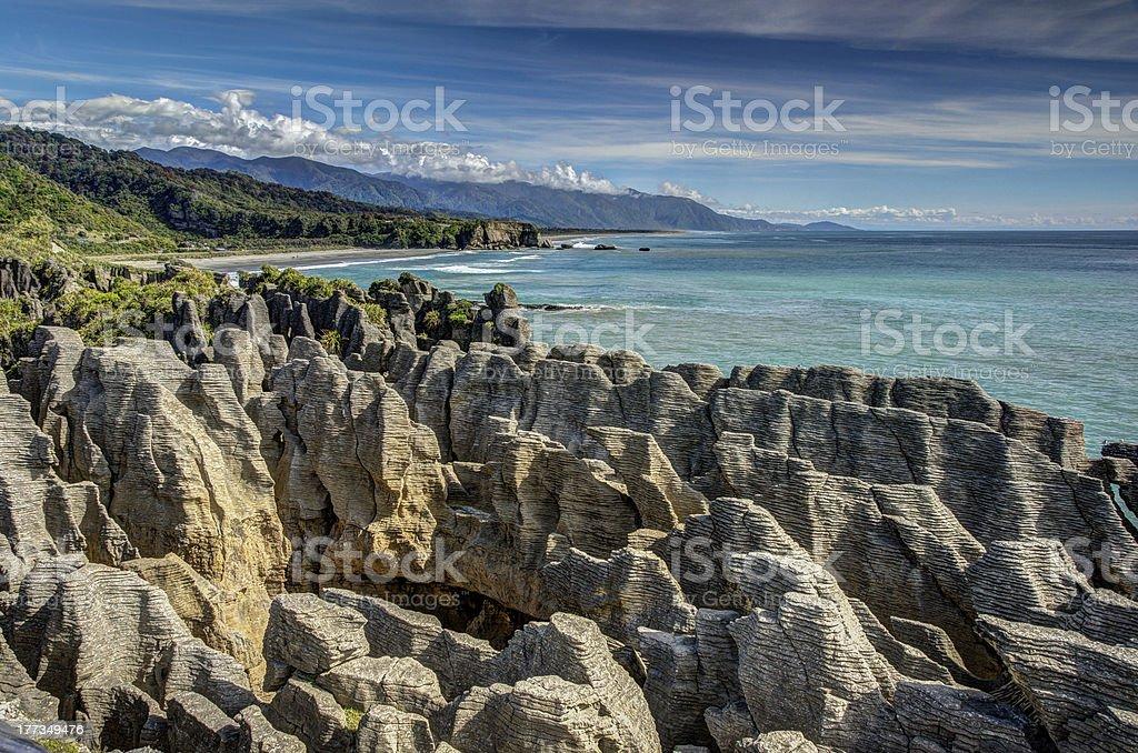 Pancake Rocks, Punakaiki, West Coast, New Zealand stock photo