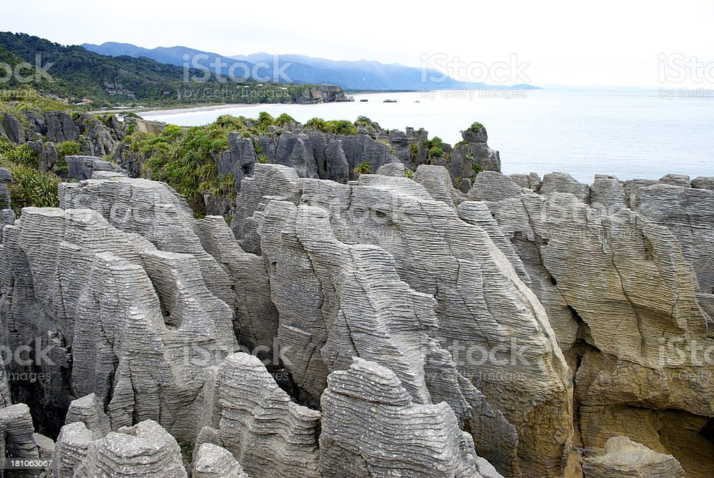 Pancake Rocks, Punakaiki, West Coast, NZ royalty-free stock photo