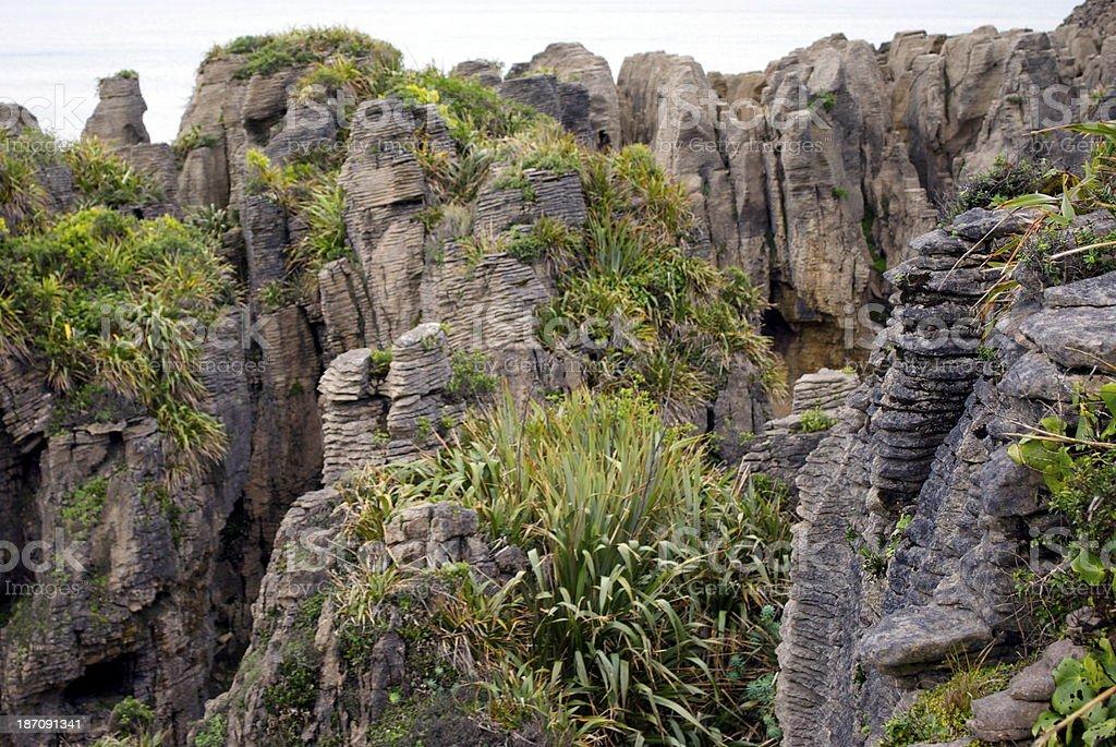 Pancake Rocks, Punakaiki, West Coast, NZ royalty-free stock photo