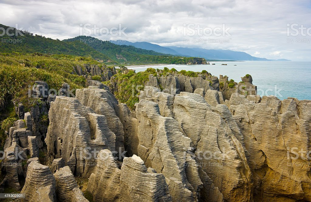 Pancake Rocks, Punakaki, South Island, New Zealand stock photo