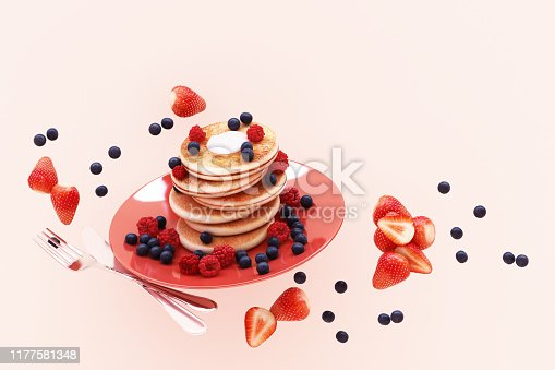 istock Pancake with blueberry and strawberry in the plate on pink pastel background. 3d render 1177581348