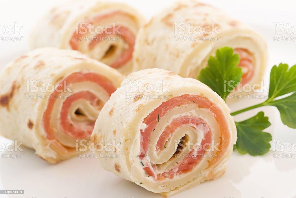 Pancake with Salmon royalty-free stock photo