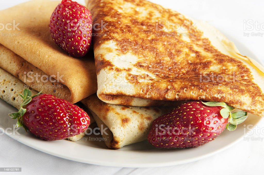 pancake with strawberry and chocolate royalty-free stock photo