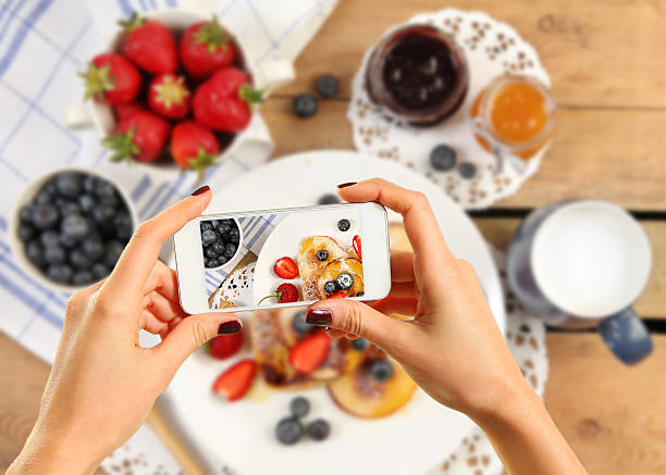 pancakes and fruits stock photo