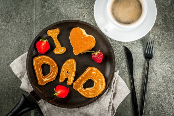 pancakes for father's day - fathers day stock photos and pictures