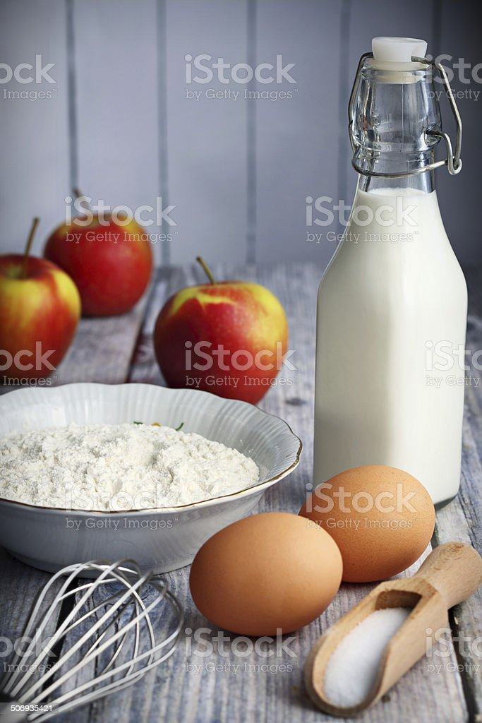 Pancakes ingredients stock photo