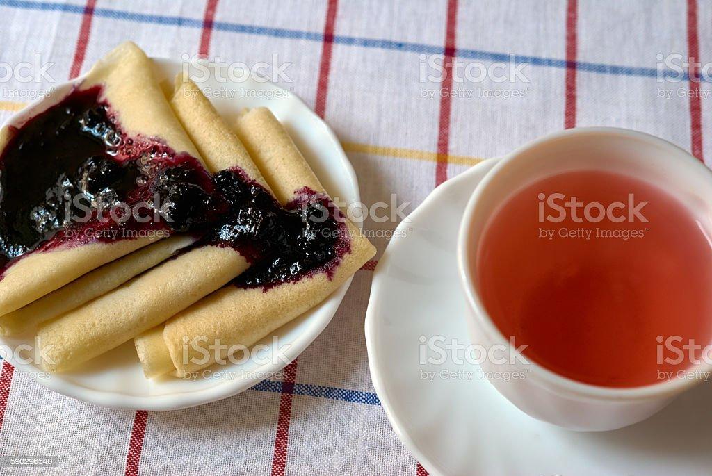 pancakes on a plate royaltyfri bildbanksbilder