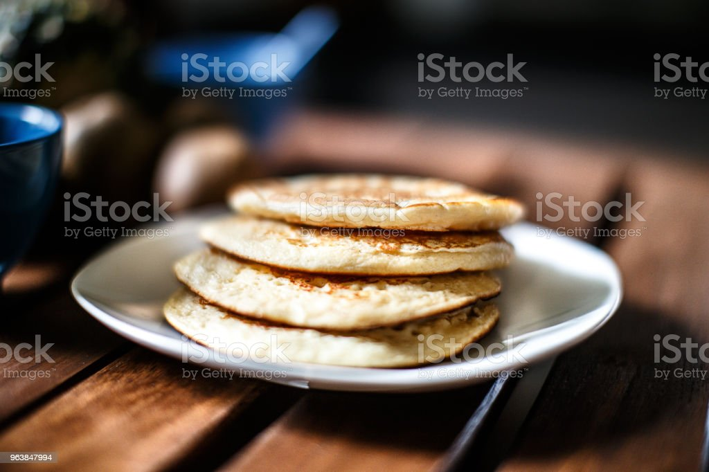 Pancakes on a wooden table - Royalty-free Baked Stock Photo