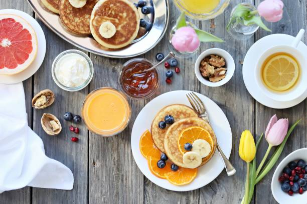 pancakes. - breakfast stock photos and pictures