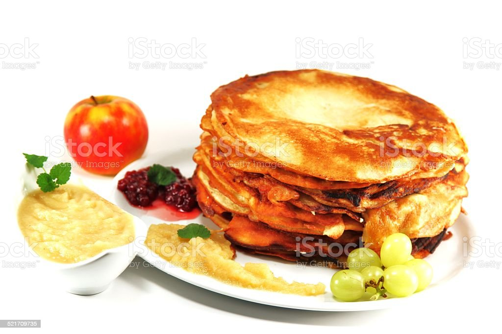 Pancakes with Applesauce stock photo