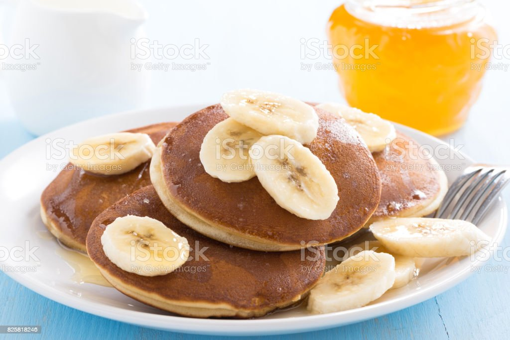 pancakes with banana stock photo