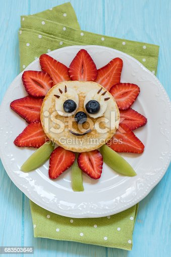 istock Pancakes with berries for kids 683503646