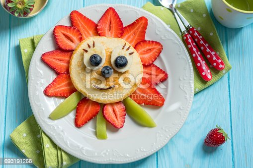 istock Pancakes with berries for kids 693191266