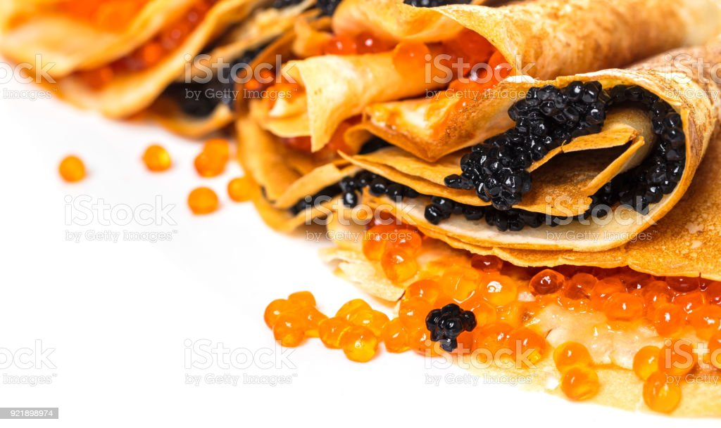 pancakes with black and red caviar stock photo
