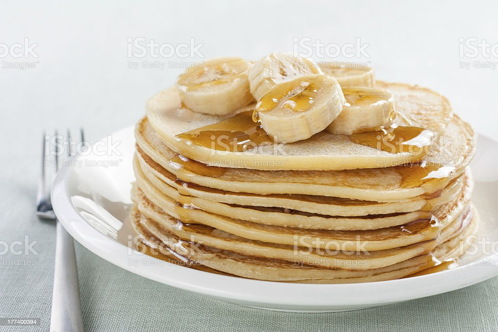 pancakes with blueberries and banana stock photo