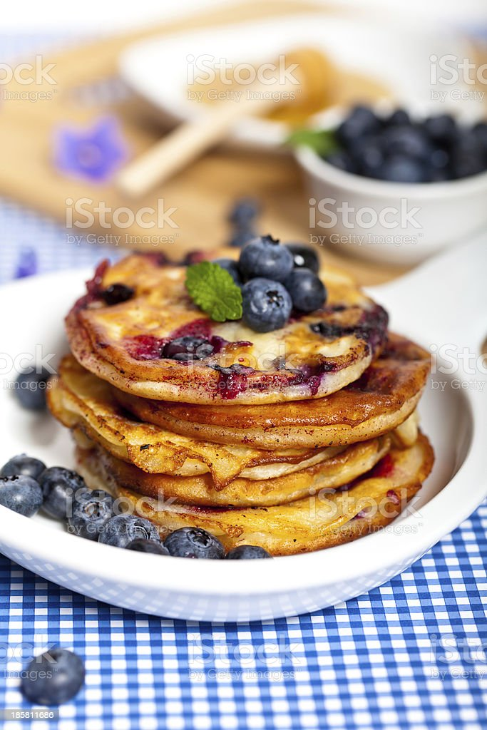 Pancakes with blueberries royalty-free stock photo