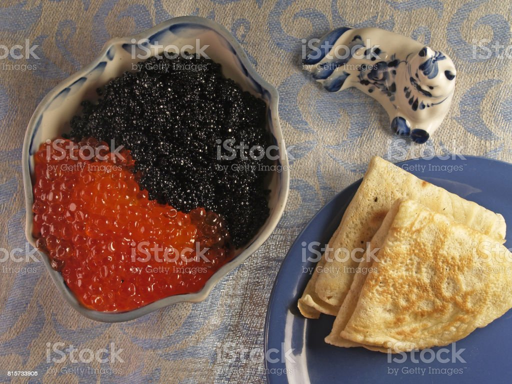 Pancakes with caviar stock photo