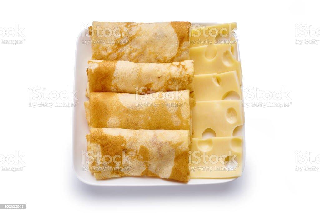 panquecas com queijo são isoladas em um fundo branco - Foto de stock de Almoço royalty-free