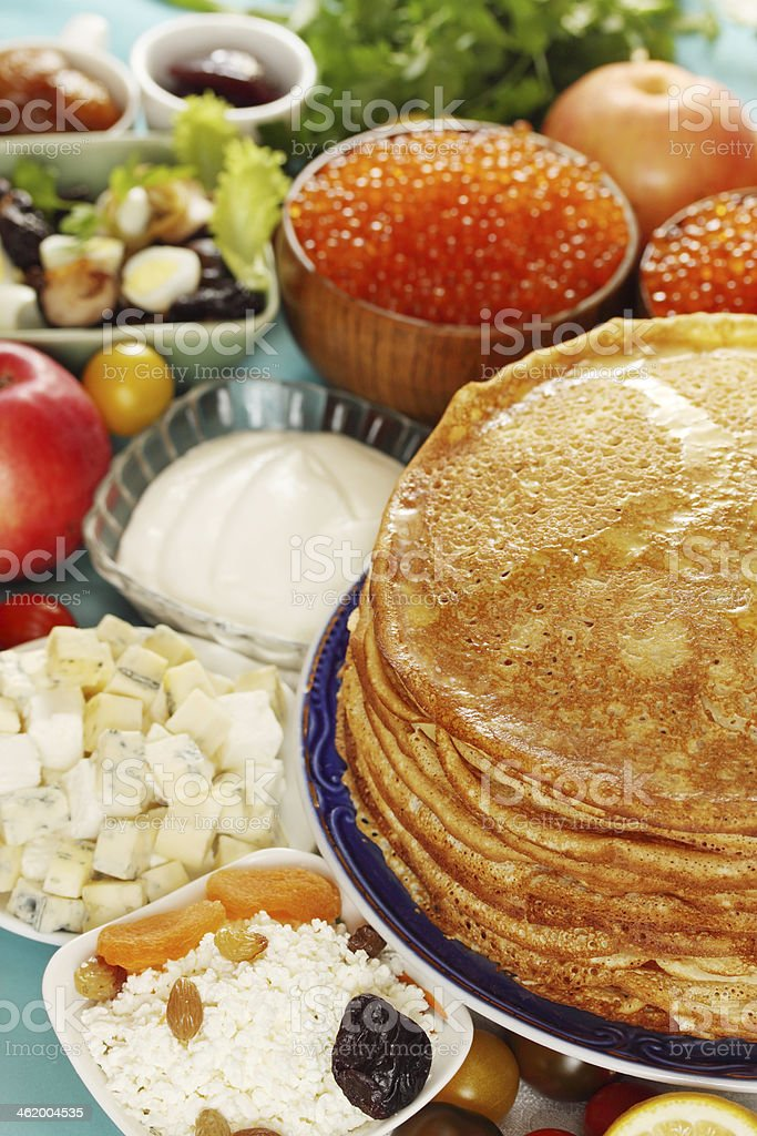 Pancakes with cottage cheese royalty-free stock photo