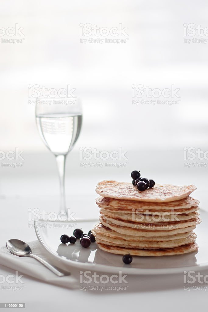 Pancakes with currants royalty-free stock photo