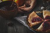 Delicious pancakes with sweet fillings. Maslenitsa