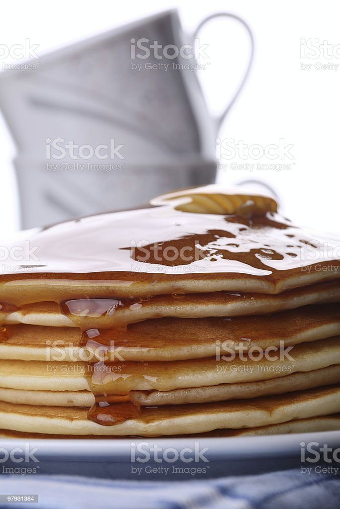 Pancakes with Honey for Breakfast royalty-free stock photo