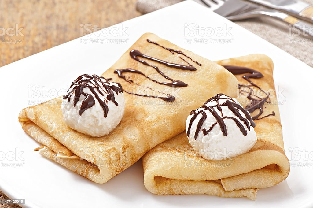 Pancakes With Ice Cream And Chocolate Sauce Stock Photo Download Image Now Istock