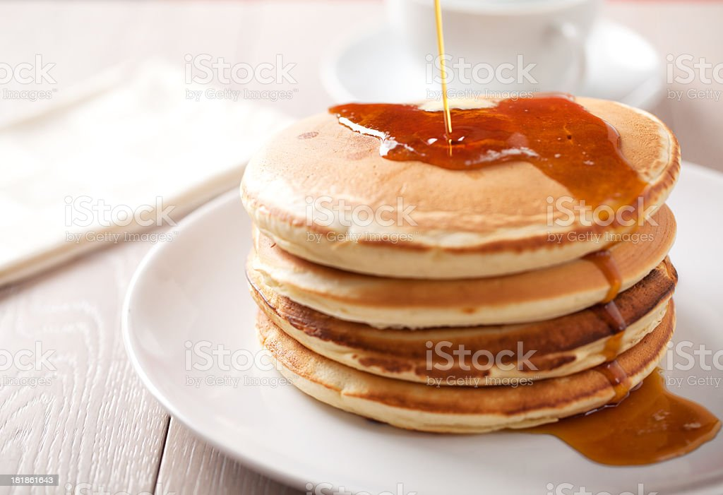 Pancakes with maple syrup royalty-free stock photo