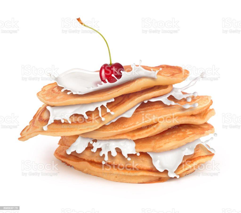pancakes with milk cream isolated stock photo
