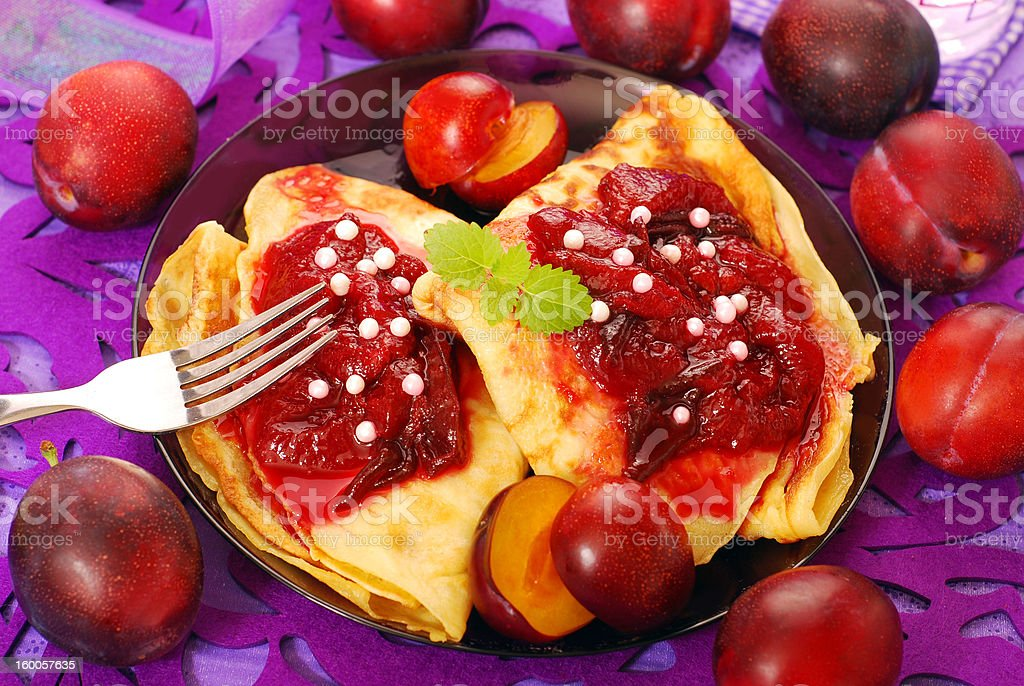 pancakes with plum confiture royalty-free stock photo