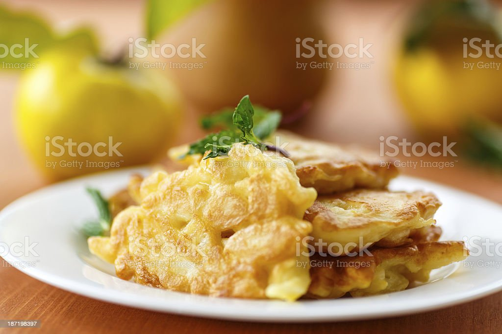 pancakes with quince stock photo