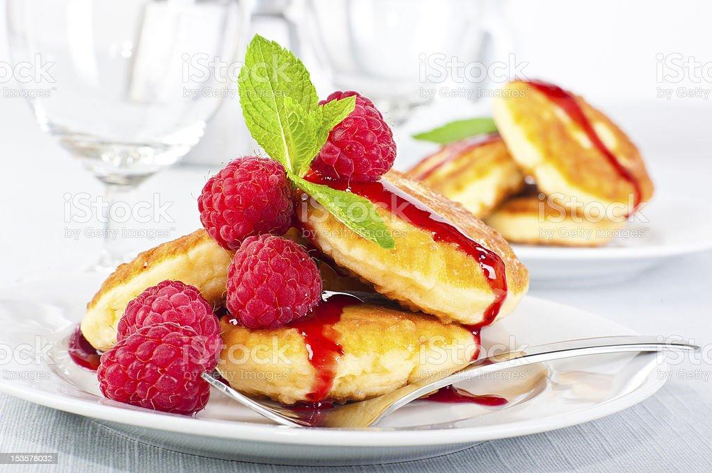 Pancakes with raspberry royalty-free stock photo