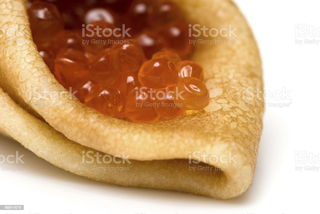 pancakes with red caviar royalty-free stock photo