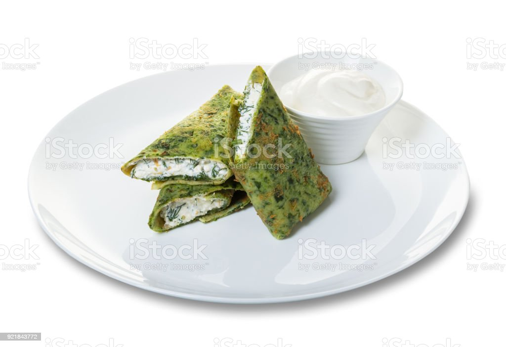 pancakes with spinach stock photo