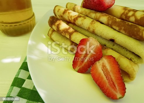Pancakes With Strawberries Honey On White Wooden Fork Towel Stock Photo & More Pictures of Appetizer